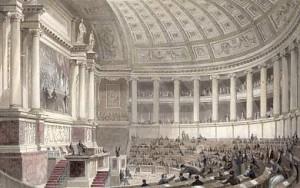 MOREY Mathieu Prosper Mathurin (1805-1878). Guizot parlant devant la Chambre des députes. Dessin à l'encre, 1844. Collection particulière.
