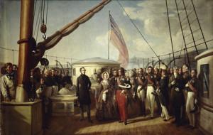 François Auguste BIARD (1798-1882). ENTREVUE DE LOUIS-PHILIPPE ET DE LA REINE VICTORIA, A BORD DU