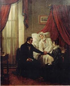 Auguste COUDER (1790-1873), Pauline de Meulan Guizot, mourante, mettant la main de sa nièce Eliza Dillon dans celle de Guizot. Huile sur toile. Collection particulière. Cliché.