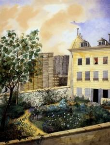 Anonyme, Paris, rue de la Ville l'Évêque, façade sur jardin de la maison de Guizot. Aquarelle. Collection particulière. Cliché François Louchet.