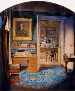 Anonyme, Paris, rue de la Ville l'Évêque, bureau de François Guizot, aquarelle, collection particulière. Cliché François Louchet.