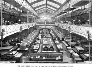 Vue de l'atelier principal de l'imprimerie centrale des chemins de fer