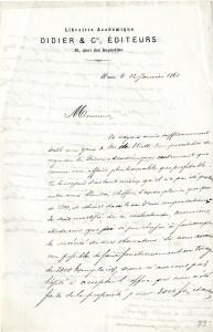 Courrier de Didier à Guizot du 12 janvier 1861