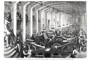 Gustave DORE. General printing works of Charles Lahure, view of the machines' gallery printing the magazine 'L'Annee Illustree'. Engraving. Musee de la Ville de Paris, Musee Carnavalet, Paris, France. © Bridgeman Education.