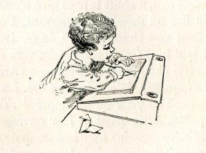 FERDINANDUS. La leçon d'écriture. Gravure sur bois. In Sur la Plage. Mme De Witt, née Guizot. Paris, Hachette, 1892 (3e ed).