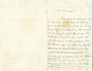 Minutes d'une lettre de François Guizot au maire de Saint-Ouen-le-Pin