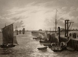 F.NASH , gravé par Salathé. Aquatinte vers 1840. BOULOGNE Sortie du port.